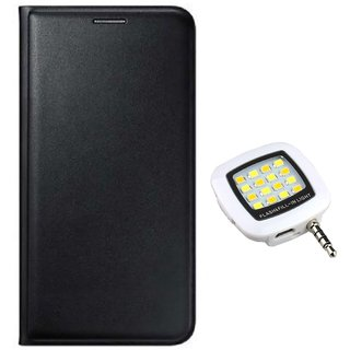 Flip cover For Gionee F103 Pro (BLACK) With Night Selfie LED Flash Light-Color May Vary