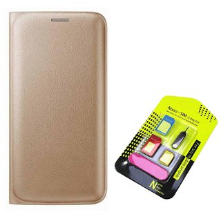 Flip cover For Samsung Galaxy J5 (2016) (GOLD) With Nano Sim Adapter