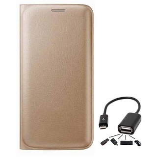 Flip cover For Lava A82 (GOLD) With Micro Otg Cable-Color May Vary