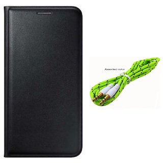 Flip cover For Lava A67 (BLACK) With Aux Cable-Color May Vary