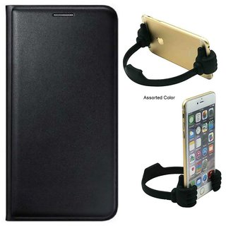 Flip cover For Lava A32 (BLACK) With OK Stand For Mobiles-Color May Vary