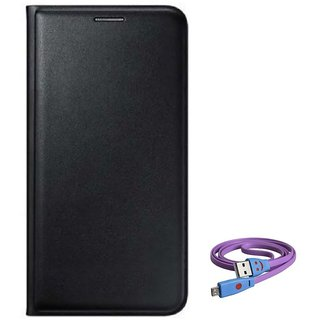 Flip cover For Lava A67 (BLACK) With Micro Smiley Light Cable-Color May Vary