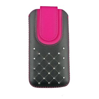 Emartbuy Black / Hot Pink Gem Studded Premium PU Leather Slide in Pouch Case Cover Sleeve Holder ( Size LM4 ) With Pull Tab Mechanism Suitable For Logicom L-ement 553 Smartphone