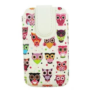Emartbuy Multi Coloured Owls Print PU Leather Slide in Pouch Sleeve Holder ( Size LM2 ) With Pull Tab Mechanism Suitable For Huawei Honor Magic