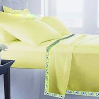 Deal Wala Set Of 2 Single Cotton Bed Sheet Cum Top Sheet - Yellow