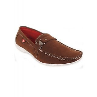 NYN Men's Casual Buckle Style Suede Loafers With White Outsole [Brown]