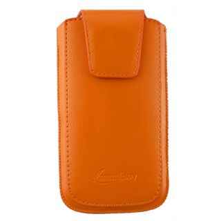 Emartbuy Sleek Range Orange Luxury Premium PU Leather Slide in Pouch Case Cover Sleeve Holder ( Size LM2 ) With Magnetic Flap & Pull Tab Mechanism Suitable For Ulefone Metal Lite Smartphone