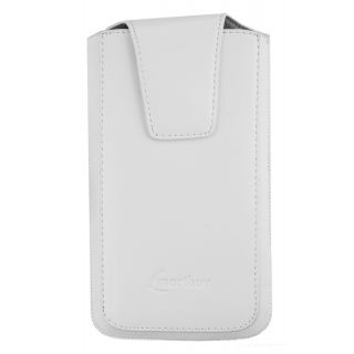 Emartbuy Sleek Range White Luxury Premium PU Leather Slide in Pouch Case Cover Sleeve Holder ( Size LM2 ) With Magnetic Flap & Pull Tab Mechanism Suitable For Ulefone Metal Lite Smartphone