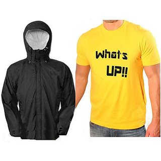 Reversible Rain Jacket With Yellow Printed Round Neck Tshirt