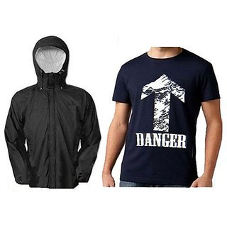 Reversible Rain Jacket With Black Printed Round Neck Tshirt