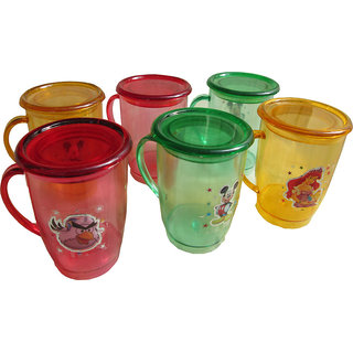 Pack of 6 Plastic Mugs With Lids