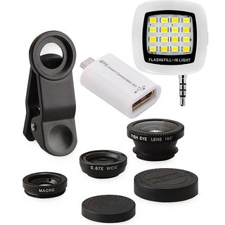 Edee Combo of Universal Mobile Camera Lens Kit, LED Selfie Flash Light and OTG Smart Kit