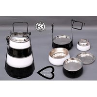 King International - Black & White Pyramid Tiffin/ Lunch Box - (4 Tier)