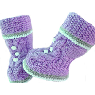 Baby Booties Handmade Crochet Baby Shoes   lightpurple  multi