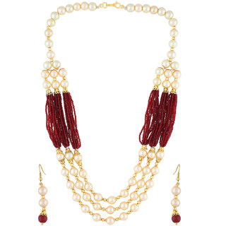 VISHAKA PEARLS  JEWELLERS Red and Golden Three Layer Pearl Set