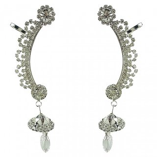 Aradhya Designer High Quality Silver Plated American Diamond Ear cuffs Earrings