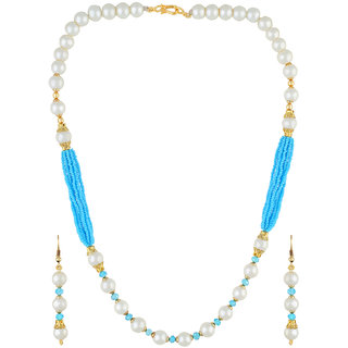 VISHAKA PEARLS  JEWELLERS Blue and White Pearl Set