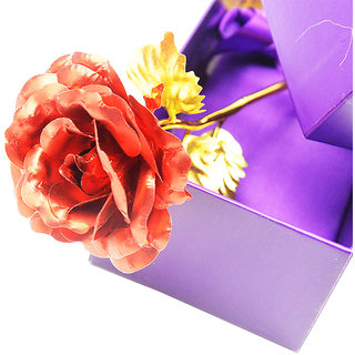 Vanyas Red Foil Rose 10 Inches