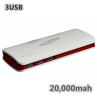 3 USB Power bank For SAMSUNG 20000mah external battery
