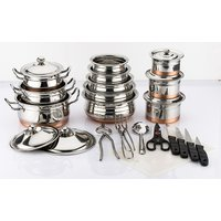 Mahavir 26Pc Stainless Steel Copper Bottom Set With Knife Set