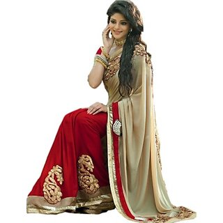 RED AND BIEGE DESIGNER BOLLYWOOD GEORGETTE BEAUTIFUL SAREE WITH BLOUSE.