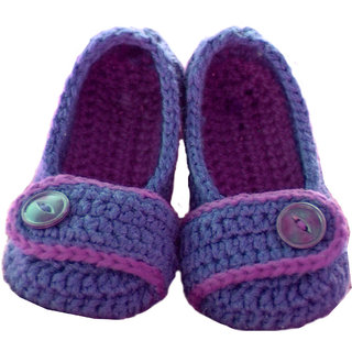 Baby Booties Handmade Crochet Baby Shoes   purple pink multi