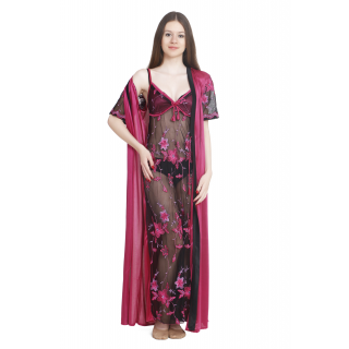 Keoti Black Transparent full nighty with Robe - (DN-TRPFN-11)
