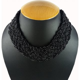 Aradhya Designer High Quality Black beaded necklace for Women and Girls