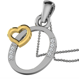 Kataria Jewellers Letter O with Valentine Heart 92.5 BIS Hallmarked Silver and American Diamond Alphabet Initial Pendant