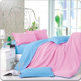 Solid Poly Satin 4 Piece Bedding Set With Reversible Duvet Cover (Pink/Sky)