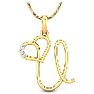 Kataria Jewellers Letter U with Valentine Heart 92.5 BIS Hallmarked Silver and American Diamond Alphabet Initial Pendant