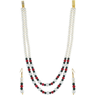 VISHAKA PEARLS  JEWELLERS Fancy Red, Green and White Double Line Pearl Set