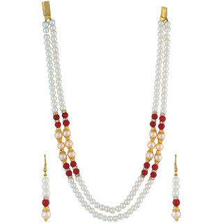 VISHAKA PEARLS  JEWELLERS Fancy Golden, Red and White Double Line Pearl Set