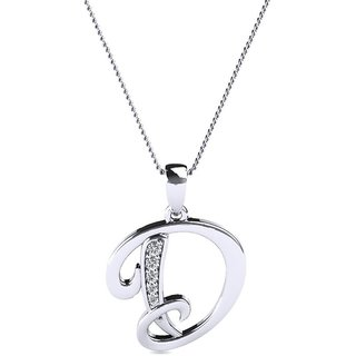 Kataria Jewellers Letter D 92.5 BIS Hallmarked Silver and American Diamond Alphabet Initial Pendant
