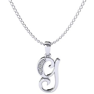 Kataria Jewellers Letter G 92.5 BIS Hallmarked Silver and American Diamond Alphabet Initial Pendant