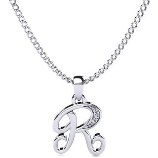 Kataria Jewellers Letter R 92.5 BIS Hallmarked Silver and American Diamond Alphabet Initial Pendant