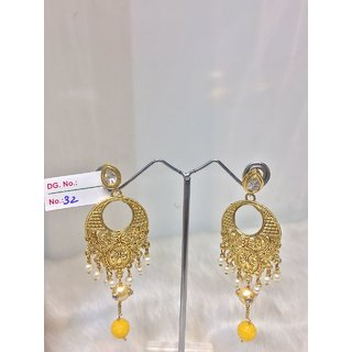 JEWELISHQ LATEST DESIGN GOLDEN WITH PEARLS DANGLE AND DROP EARING SET.