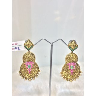 JEWELISHQ BEST DESIGNER GOLDEN DANGLE AND DROP EARING SET.