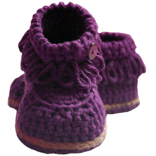 Baby Booties Handmade Crochet Baby Shoes  purple multi