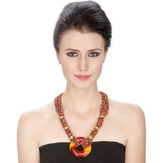 Aradhya Designer Multi Color Beads Necklace with Mayuri Pendant for Women and Girls