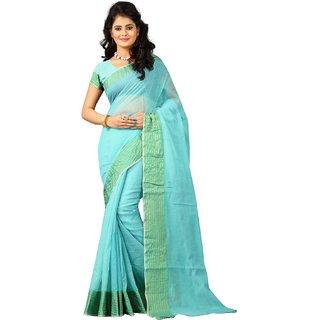 Womens Cotton Plain Gold zari patti Sky blue Colour Saree