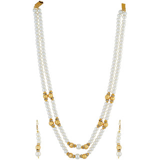 VISHAKA PEARLS  JEWELLERS Golden and White Double Line Pearl Set