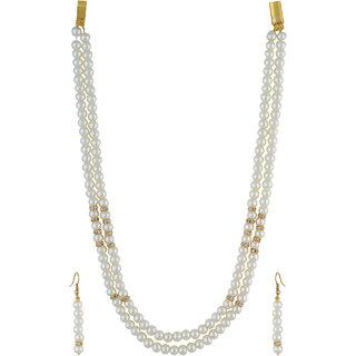 VISHAKA PEARLS  JEWELLERS White Double Line Pearl Set