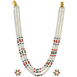 VISHAKA PEARLS  JEWELLERS Fancy Red, Green and White Triple Line Pearl Set