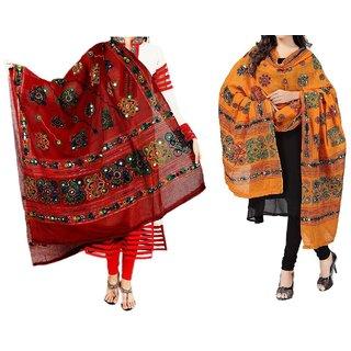 Women'S Cotton Embroidery  Mirror Work Dupatta Multi Color Stoles  Dupattas pack of 2