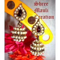 Brown leaf pearl jhumki earrings