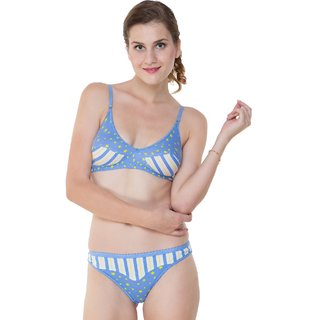 Glus (104) Summer Star Everyday Bra  Bikini Panty Set , Color- Blue, Size-36
