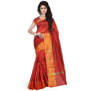 Womens Cotton Plain Gold zari patto With Pallu Red Colour Saree