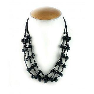 Aradhya Designer Black Beads Multi Strand necklace for Women and Girls