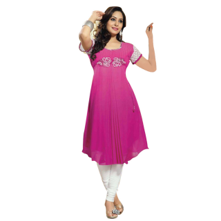 yashvee brand georgette a line pink colore embroidery kurti